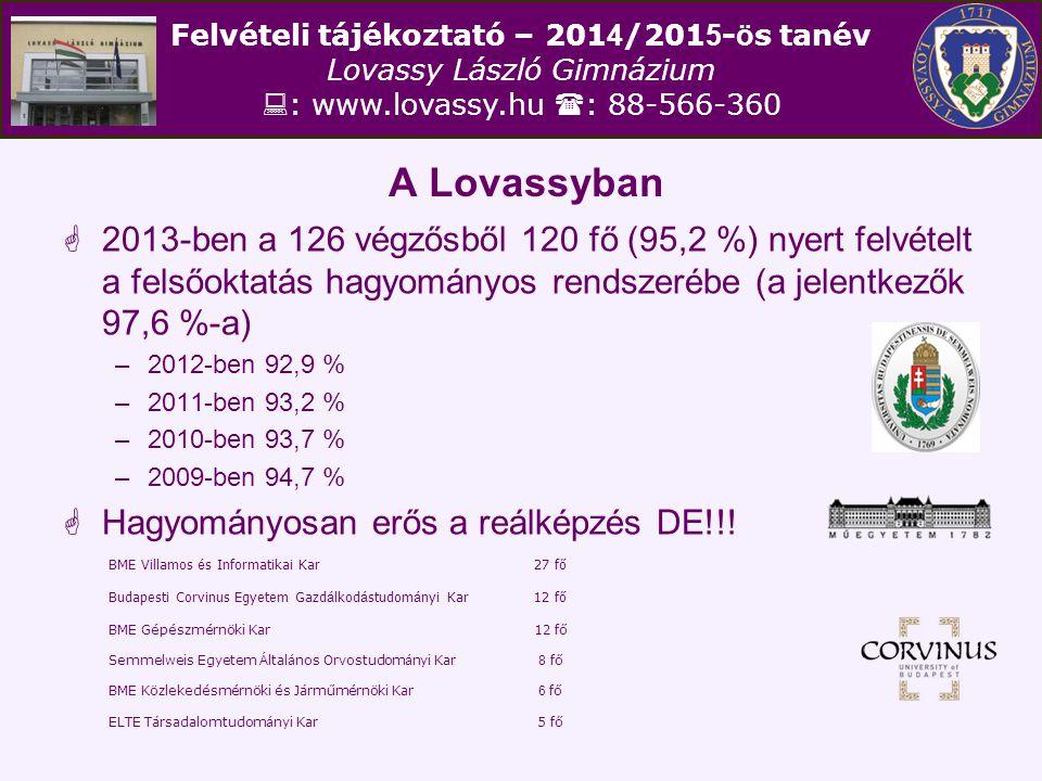 Felvételi tájékoztató – 201 4 /201 5 - ö s tanév Lovassy László Gimnázium  : www.lovassy.hu  : 88-566-360 A Lovassyban  2013-ben a 126 végzősből 12