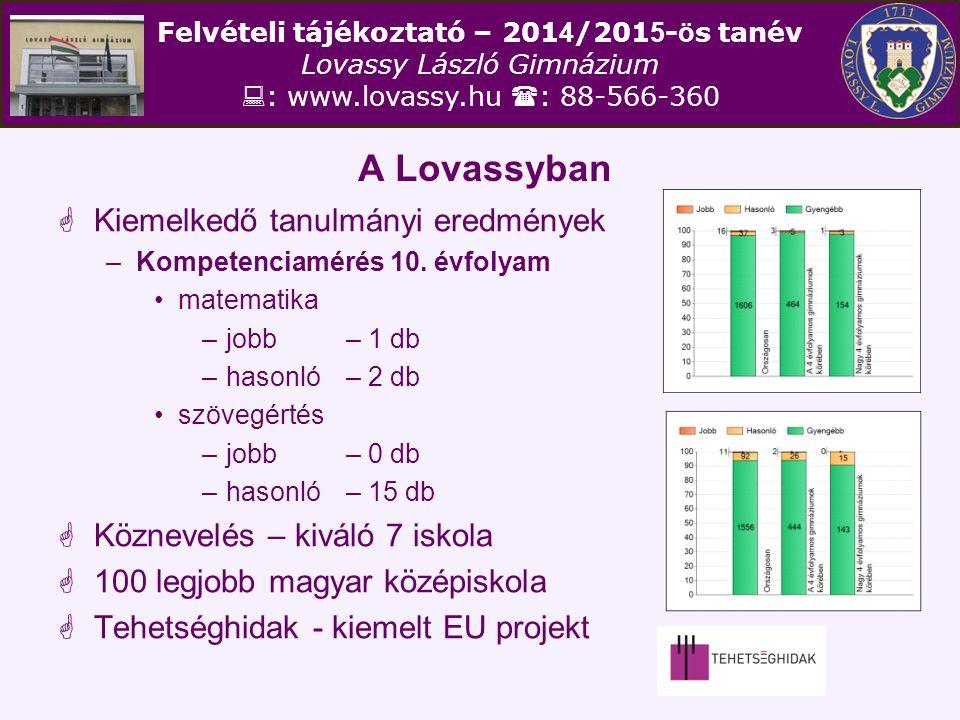 Felvételi tájékoztató – 201 4 /201 5 - ö s tanév Lovassy László Gimnázium  : www.lovassy.hu  : 88-566-360 A Lovassyban  Kiemelkedő tanulmányi eredm
