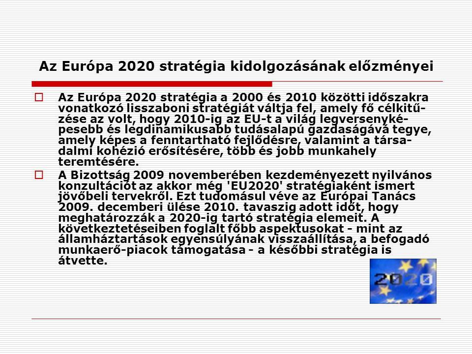Az Európa 2020 stratégia kidolgozásának előzményei  Az Európa 2020 stratégia a 2000 és 2010 közötti időszakra vonatkozó lisszaboni stratégiát váltja fel, amely fő célkitű- zése az volt, hogy 2010-ig az EU-t a világ legversenyké- pesebb és legdinamikusabb tudásalapú gazdaságává tegye, amely képes a fenntartható fejlődésre, valamint a társa- dalmi kohézió erősítésére, több és jobb munkahely teremtésére.