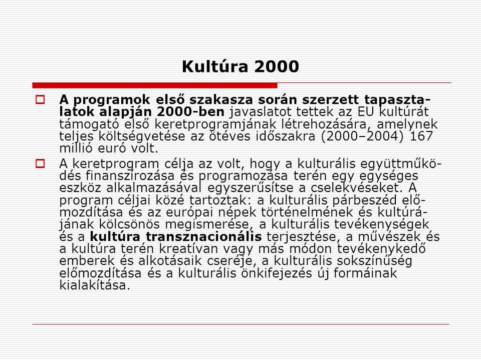 Kultúra 2000  A programok első szakasza során szerzett tapaszta- latok alapján 2000-ben javaslatot tettek az EU kultúrát támogató első keretprogramjának létrehozására, amelynek teljes költségvetése az ötéves időszakra (2000–2004) 167 millió euró volt.