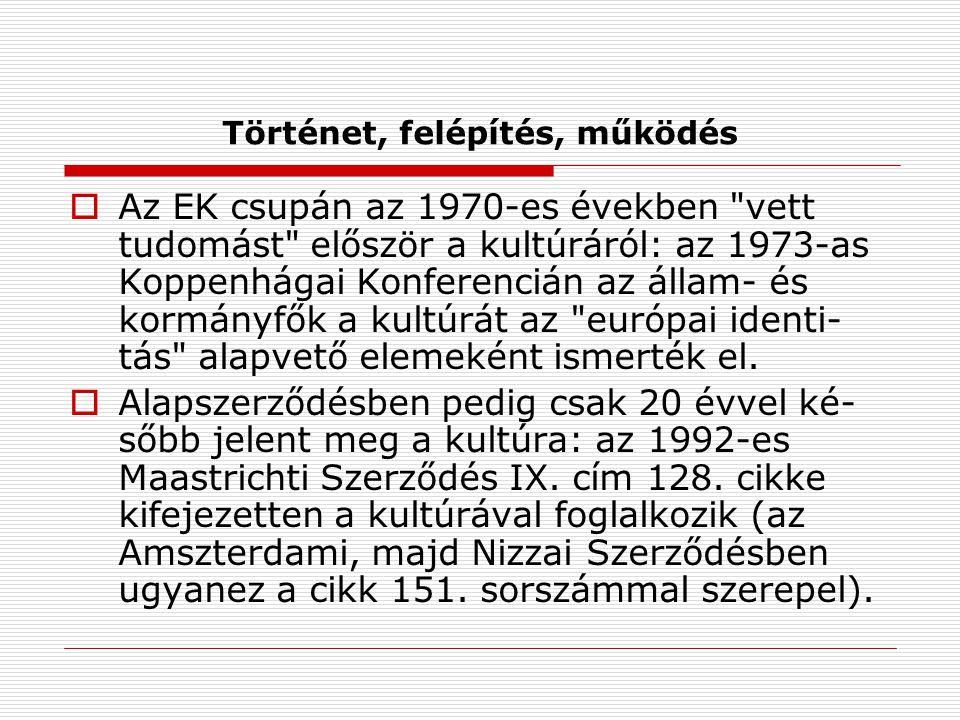 Történet, felépítés, működés  Az EK csupán az 1970-es években vett tudomást először a kultúráról: az 1973-as Koppenhágai Konferencián az állam- és kormányfők a kultúrát az európai identi- tás alapvető elemeként ismerték el.