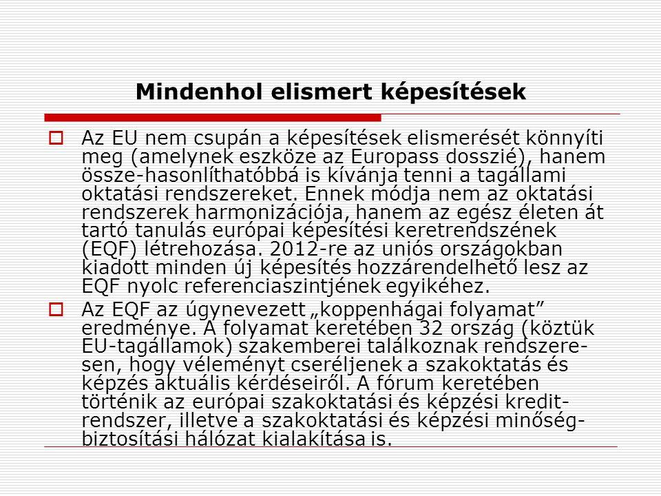 Mindenhol elismert képesítések  Az EU nem csupán a képesítések elismerését könnyíti meg (amelynek eszköze az Europass dosszié), hanem össze-hasonlíthatóbbá is kívánja tenni a tagállami oktatási rendszereket.