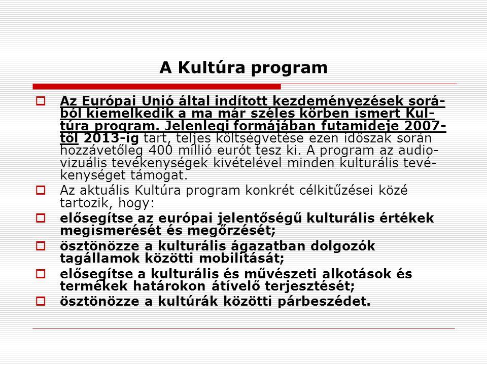 A Kultúra program  Az Európai Unió által indított kezdeményezések sorá- ból kiemelkedik a ma már széles körben ismert Kul- túra program.