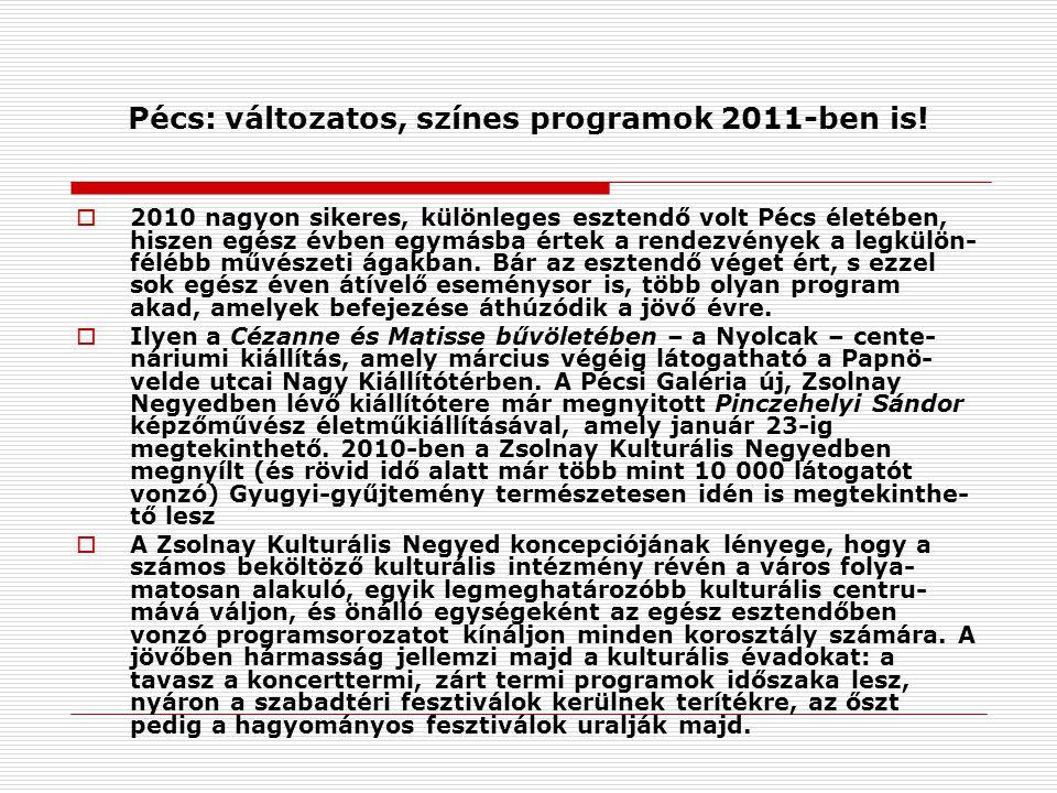 Pécs: változatos, színes programok 2011-ben is.