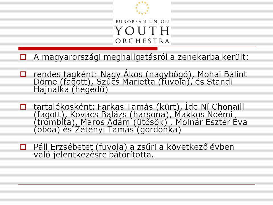  A magyarországi meghallgatásról a zenekarba került:  rendes tagként: Nagy Ákos (nagybőgő), Mohai Bálint Döme (fagott), Szűcs Marietta (fuvola), és Standi Hajnalka (hegedű)  tartalékosként: Farkas Tamás (kürt), Íde Ní Chonaill (fagott), Kovács Balázs (harsona), Makkos Noémi (trombita), Maros Ádám (ütősök), Molnár Eszter Éva (oboa) és Zétényi Tamás (gordonka)  Páll Erzsébetet (fuvola) a zsűri a következő évben való jelentkezésre bátorította.