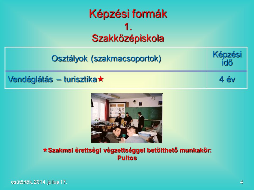 4 Osztályok (szakmacsoportok) Képzési idő Vendéglátás – turisztika  4 év Képzési formák 1. Szakközépiskola  Szakmai érettségi végzettséggel betölthe