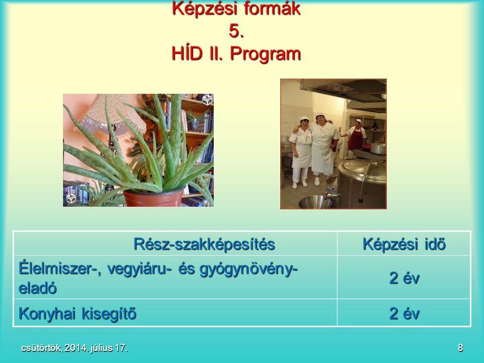 csütörtök, 2014. július 17.csütörtök, 2014. július 17.csütörtök, 2014. július 17.csütörtök, 2014. július 17. 8 Képzési formák 5. HÍD II. Program Képzé