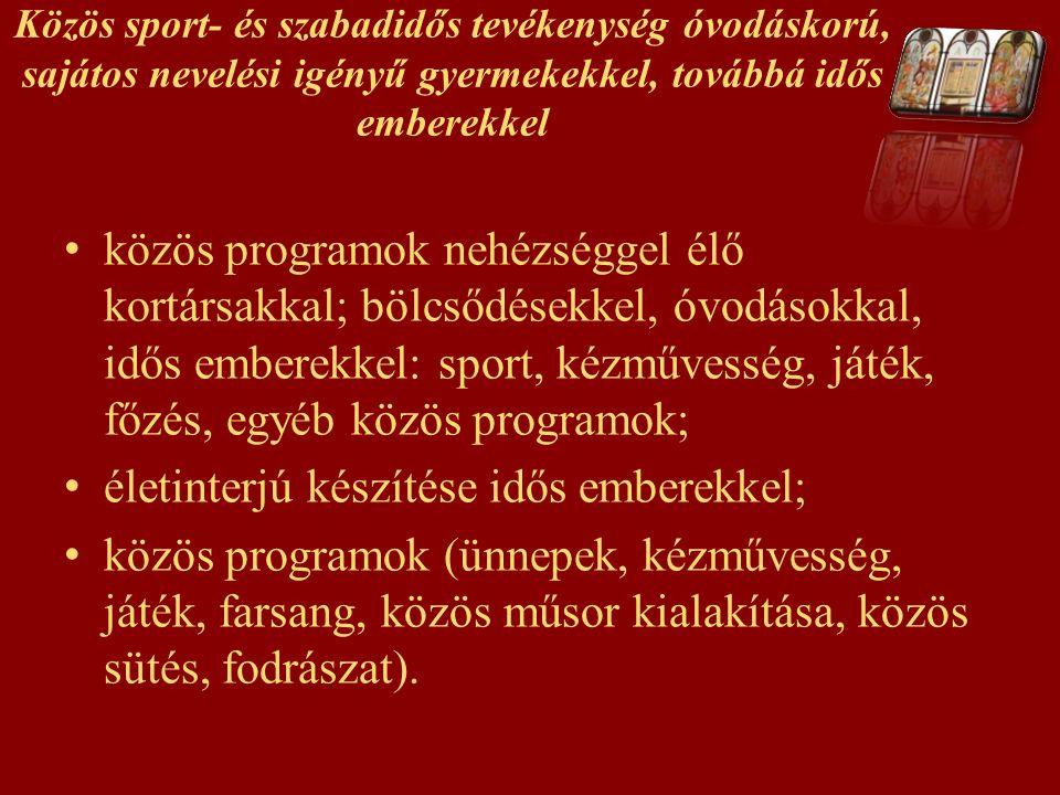 Közös sport- és szabadidős tevékenység óvodáskorú, sajátos nevelési igényű gyermekekkel, továbbá idős emberekkel közös programok nehézséggel élő kortá