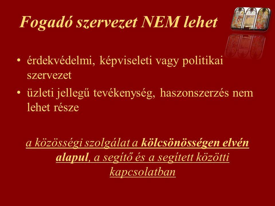 Fogadó szervezet NEM lehet érdekvédelmi, képviseleti vagy politikai szervezet üzleti jellegű tevékenység, haszonszerzés nem lehet része a közösségi sz