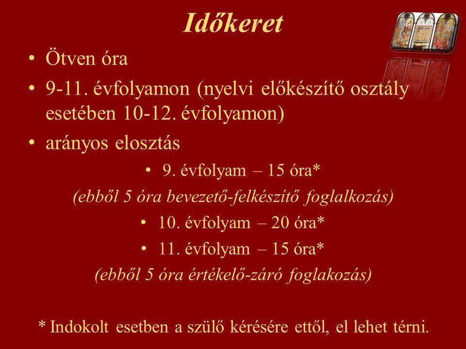 Időkeret Ötven óra 9-11. évfolyamon (nyelvi előkészítő osztály esetében 10-12. évfolyamon) arányos elosztás 9. évfolyam – 15 óra* (ebből 5 óra bevezet