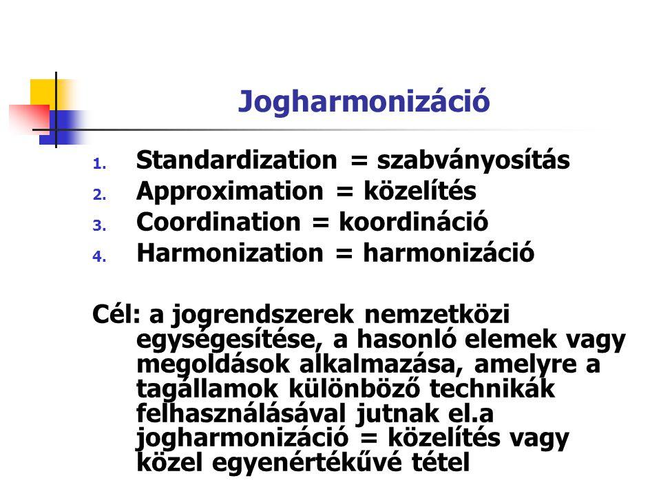 Jogharmonizáció 1. Standardization = szabványosítás 2. Approximation = közelítés 3. Coordination = koordináció 4. Harmonization = harmonizáció Cél: a
