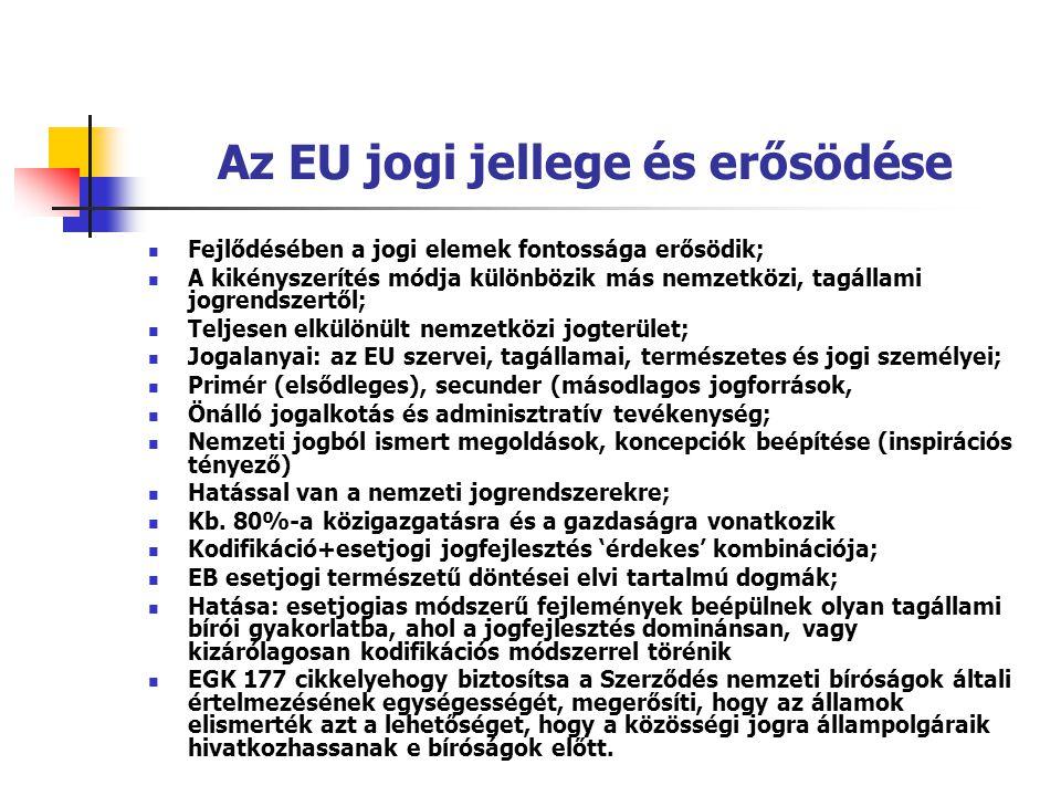 Az EU jogi jellege és erősödése Fejlődésében a jogi elemek fontossága erősödik; A kikényszerítés módja különbözik más nemzetközi, tagállami jogrendsze