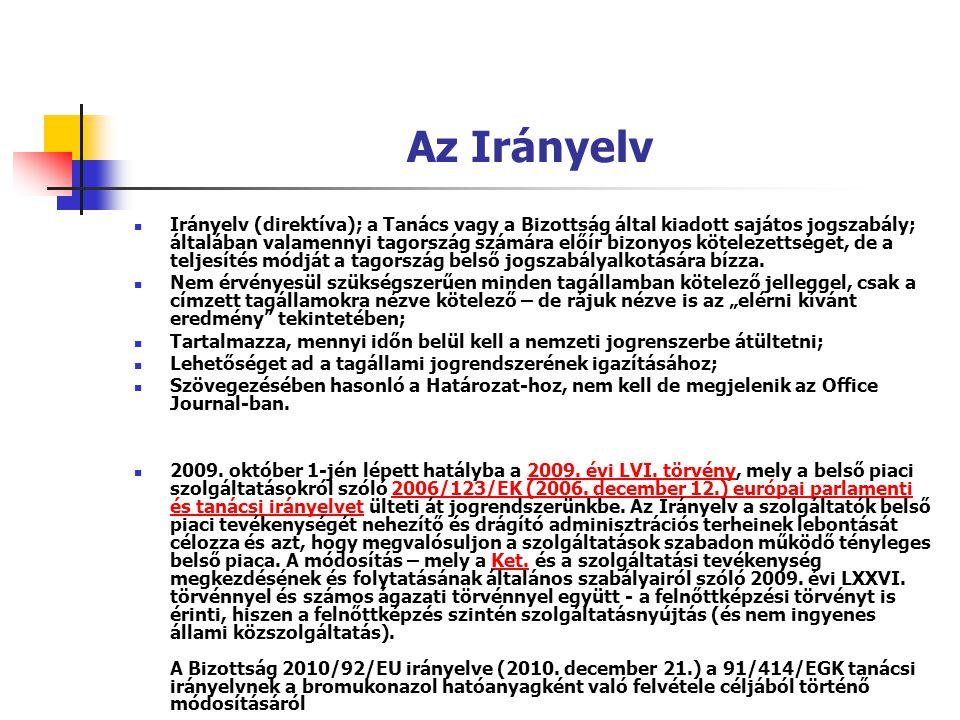 Az Irányelv Irányelv (direktíva); a Tanács vagy a Bizottság által kiadott sajátos jogszabály; általában valamennyi tagország számára előír bizonyos kö