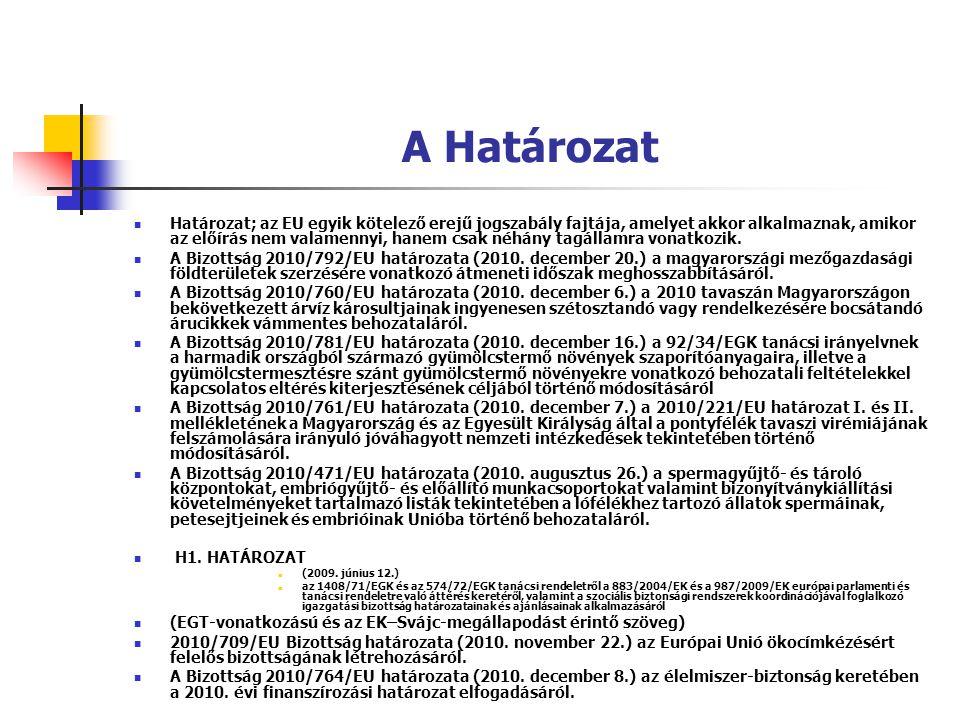 A Határozat Határozat; az EU egyik kötelező erejű jogszabály fajtája, amelyet akkor alkalmaznak, amikor az előírás nem valamennyi, hanem csak néhány t