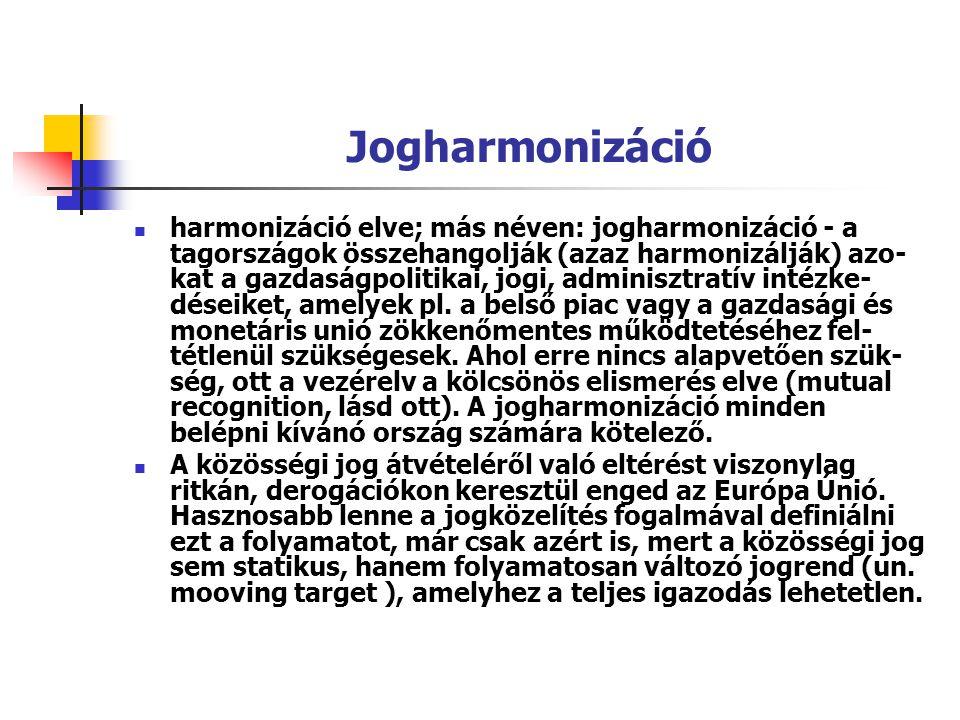 Jogharmonizáció harmonizáció elve; más néven: jogharmonizáció - a tagországok összehangolják (azaz harmonizálják) azo- kat a gazdaságpolitikai, jogi,