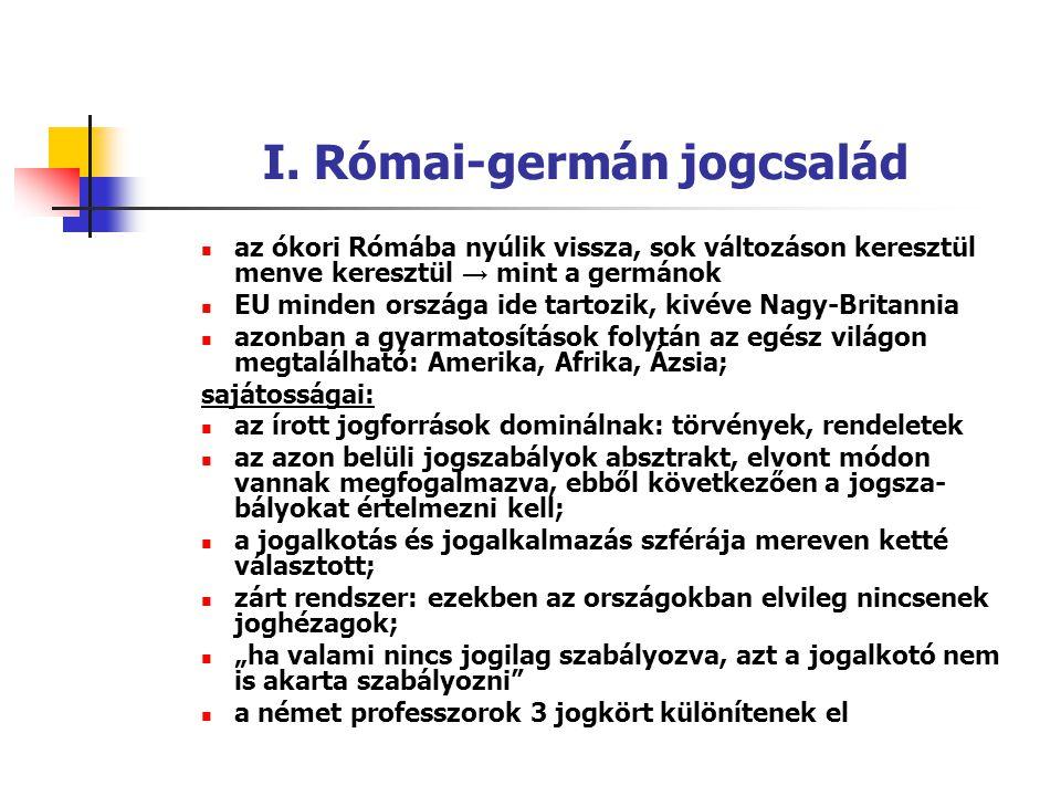 I. Római-germán jogcsalád az ókori Rómába nyúlik vissza, sok változáson keresztül menve keresztül → mint a germánok EU minden országa ide tartozik, ki