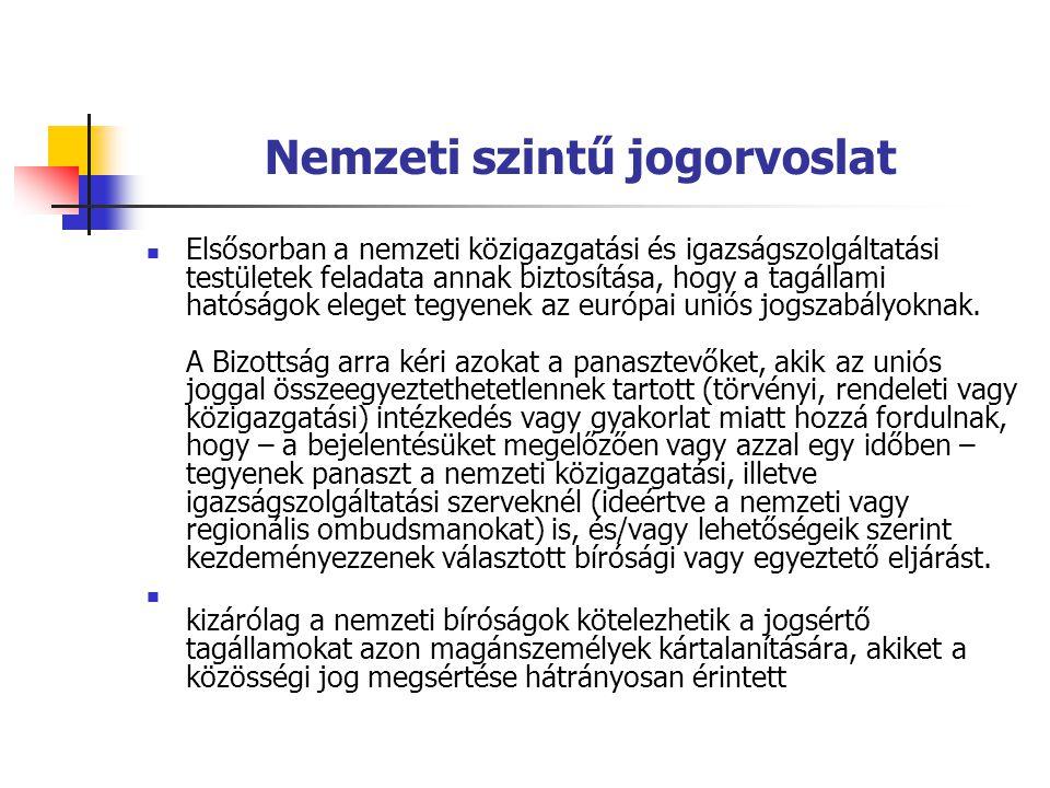 Nemzeti szintű jogorvoslat Elsősorban a nemzeti közigazgatási és igazságszolgáltatási testületek feladata annak biztosítása, hogy a tagállami hatóságo
