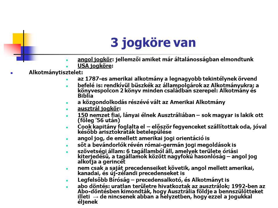 3 jogköre van angol jogkör: jellemzői amiket már általánosságban elmondtunk USA jogköre: Alkotmánytisztelet: az 1787-es amerikai alkotmány a legnagyob