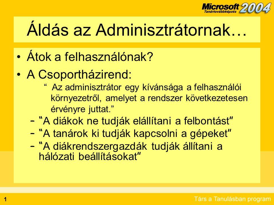 """2 Az """"Örökség A házirend első megjelenése: –Windows NT® 4.0 –A házirend tartomány szinten jut érvényre –Kizárólag korlátozásra használható –Kitetoválja a felhasználói profilokat A """"barátságos házirend: –Windows 2000 –A házirend hierarchikus, több szinten érvényre jutó –Lazább kapcsolási módok –Nem csak korlátozó típusú –Nincs profiltetoválás"""