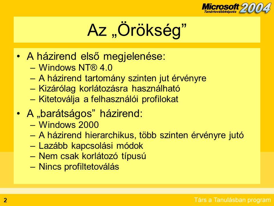 3 Lehetőségeink manapság A házirend legkorszerűbb megjelenése: –Windows Server 2003 –Több, mint 200 új házirend beállítás szoftverfuttatást tiltó házirendek terminálszolgáltatás házirendek DNS beállítások hibajelentések központosítása Netlogon házirendek –Új eszközök komplex feladatokhoz WMI szűrők eredő házirend kiszámítás/tervezés csoportházirend műveletek felügyelete