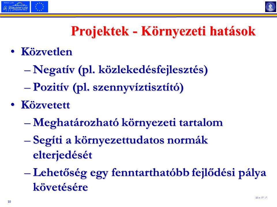 10 2014. 07. 17. Projektek - Környezeti hatások KözvetlenKözvetlen –Negatív (pl. közlekedésfejlesztés) –Pozitív (pl. szennyvíztisztító) KözvetettKözve