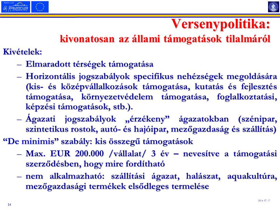 14 2014. 07. 17. Kivételek: –Elmaradott térségek támogatása –Horizontális jogszabályok specifikus nehézségek megoldására (kis- és középvállalkozások t