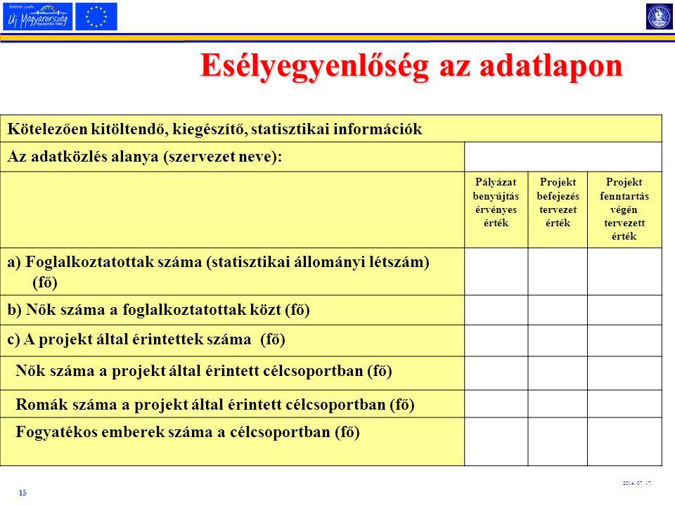 15 2014. 07. 17. Esélyegyenlőség az adatlapon Kötelezően kitöltendő, kiegészítő, statisztikai információk Az adatközlés alanya (szervezet neve): Pályá