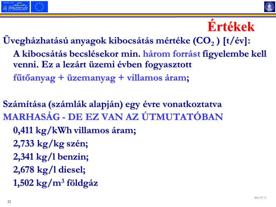 22 2014. 07. 17. Értékek Üvegházhatású anyagok kibocsátás mértéke (CO 2 ) [t/év]: A kibocsátás becslésekor min. három forrást figyelembe kell venni. E