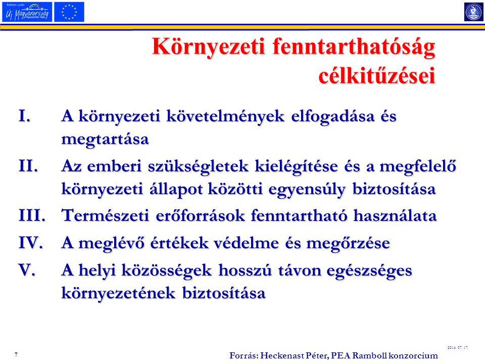 7 2014. 07. 17. Környezeti fenntarthatóság célkitűzései I.A környezeti követelmények elfogadása és megtartása II.Az emberi szükségletek kielégítése és
