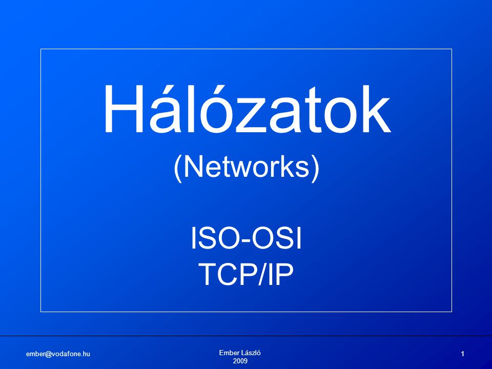 ember@vodafone.hu Ember László 2009 1 Hálózatok (Networks) ISO-OSI TCP/IP