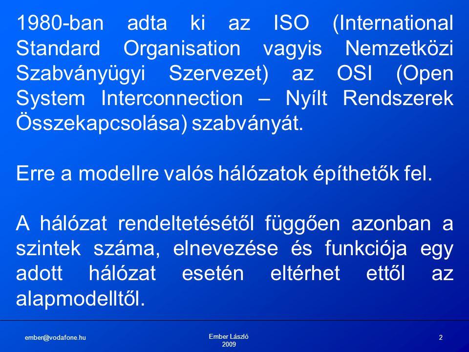 ember@vodafone.hu Ember László 2009 2 1980-ban adta ki az ISO (International Standard Organisation vagyis Nemzetközi Szabványügyi Szervezet) az OSI (Open System Interconnection – Nyílt Rendszerek Összekapcsolása) szabványát.
