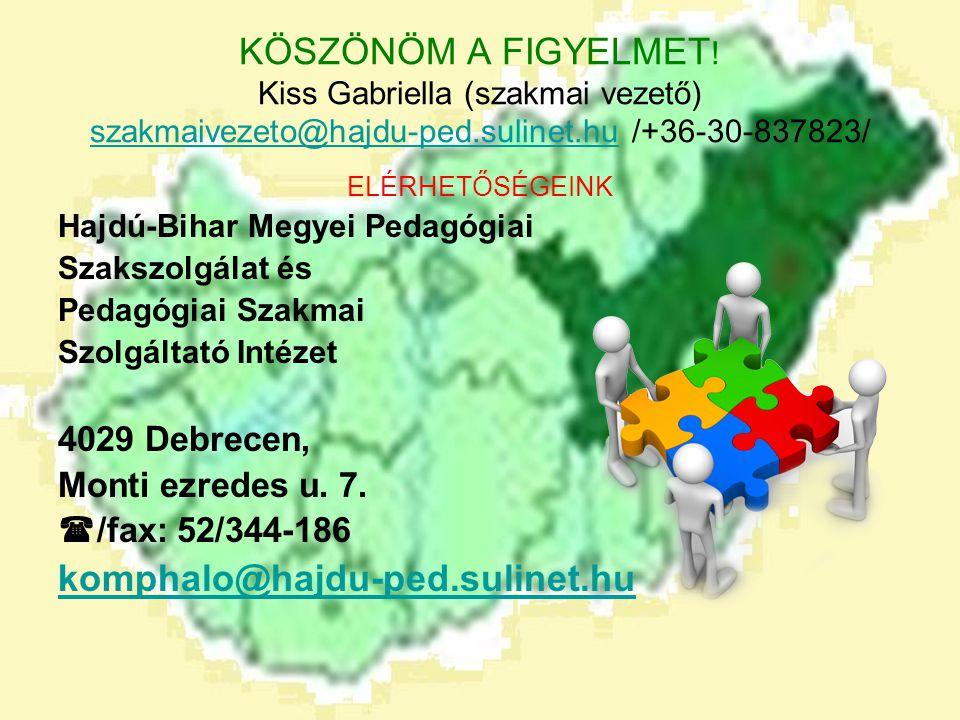 KÖSZÖNÖM A FIGYELMET ! Kiss Gabriella (szakmai vezető) szakmaivezeto@hajdu-ped.sulinet.hu /+36-30-837823/ szakmaivezeto@hajdu-ped.sulinet.hu ELÉRHETŐS