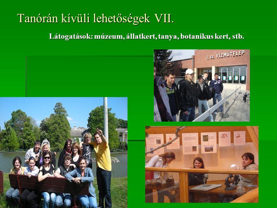 Tanórán kívüli lehetőségek VII. Látogatások: múzeum, állatkert, tanya, botanikus kert, stb.