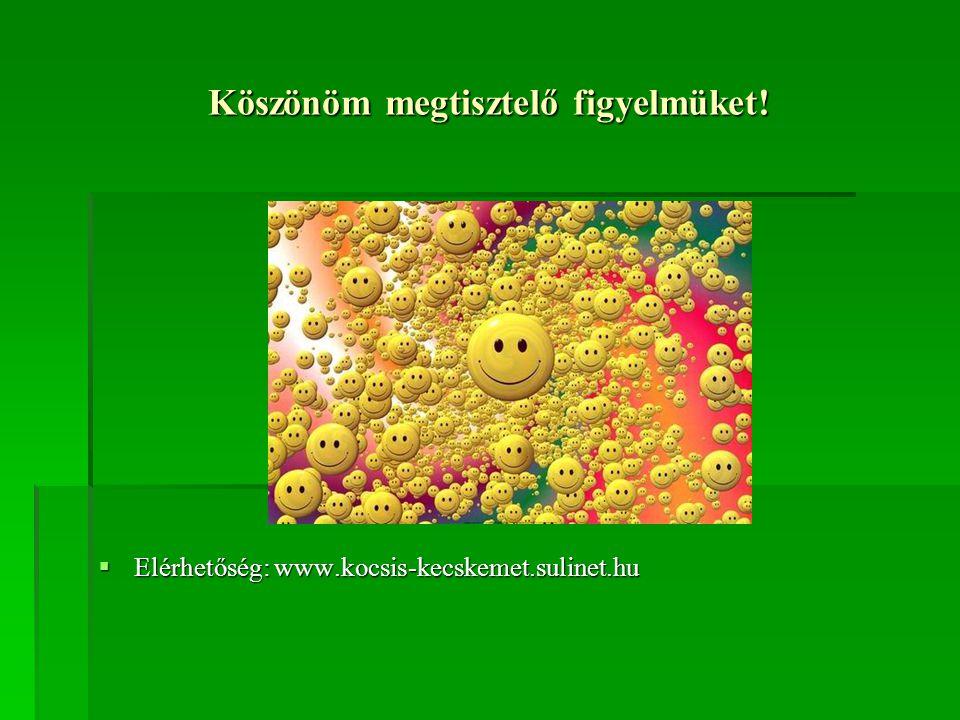 Köszönöm megtisztelő figyelmüket!  Elérhetőség: www.kocsis-kecskemet.sulinet.hu