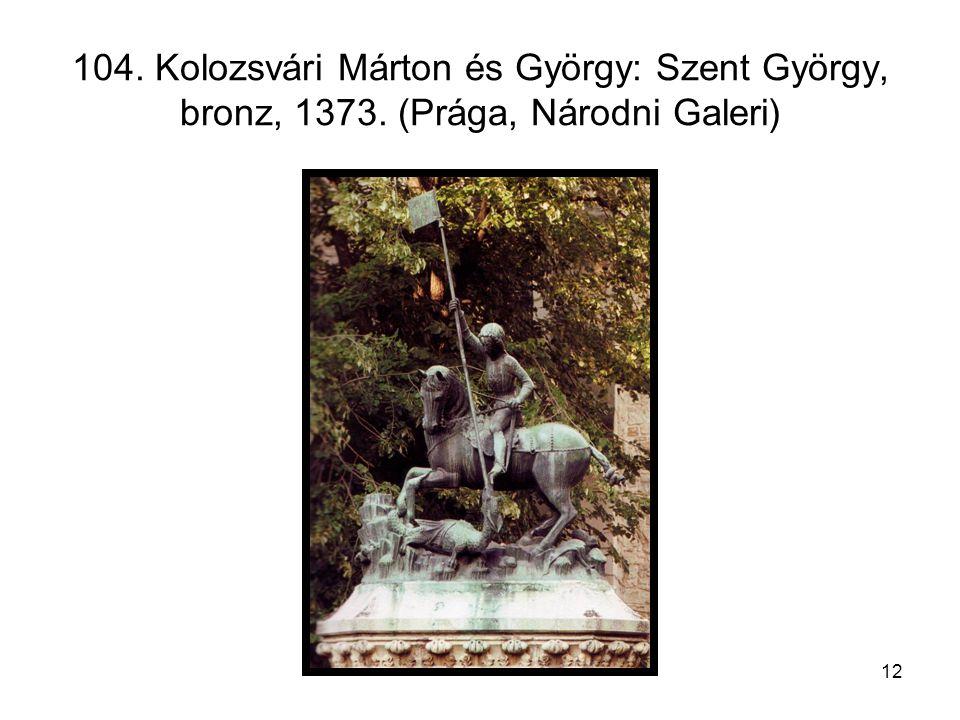 12 104. Kolozsvári Márton és György: Szent György, bronz, 1373. (Prága, Národni Galeri)