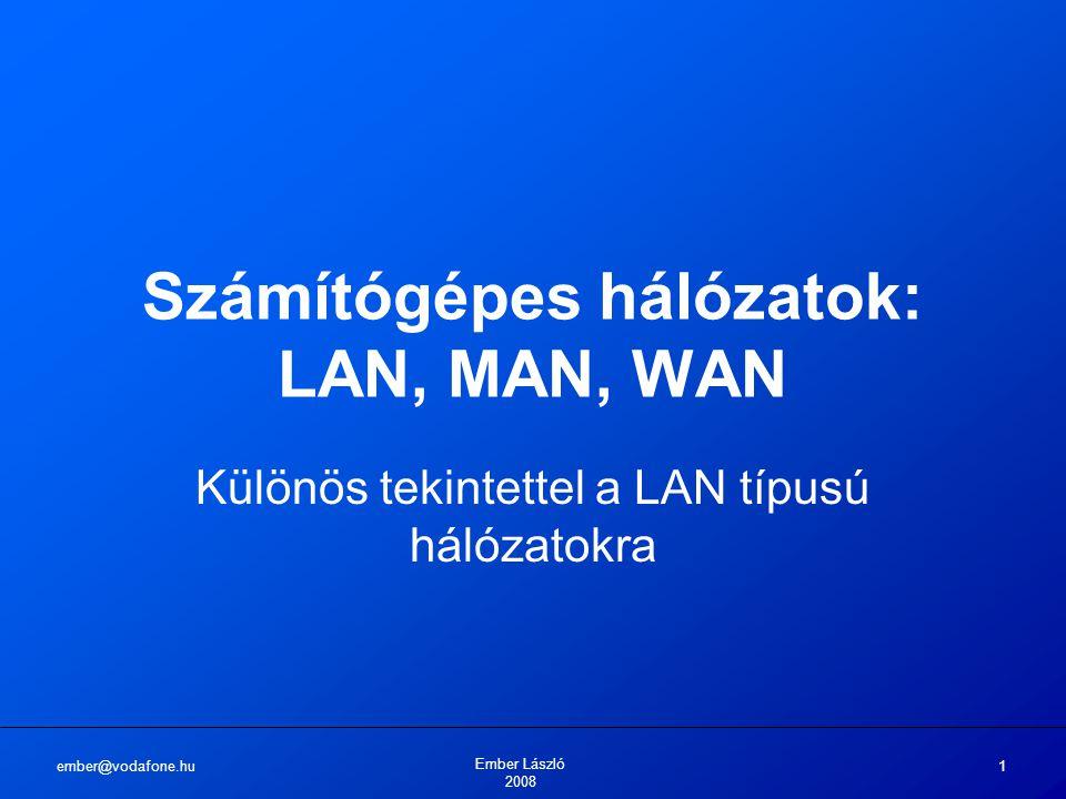 ember@vodafone.hu Ember László 2008 1 Számítógépes hálózatok: LAN, MAN, WAN Különös tekintettel a LAN típusú hálózatokra