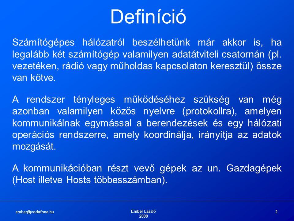 ember@vodafone.hu Ember László 2008 2 Definíció Számítógépes hálózatról beszélhetünk már akkor is, ha legalább két számítógép valamilyen adatátviteli csatornán (pl.