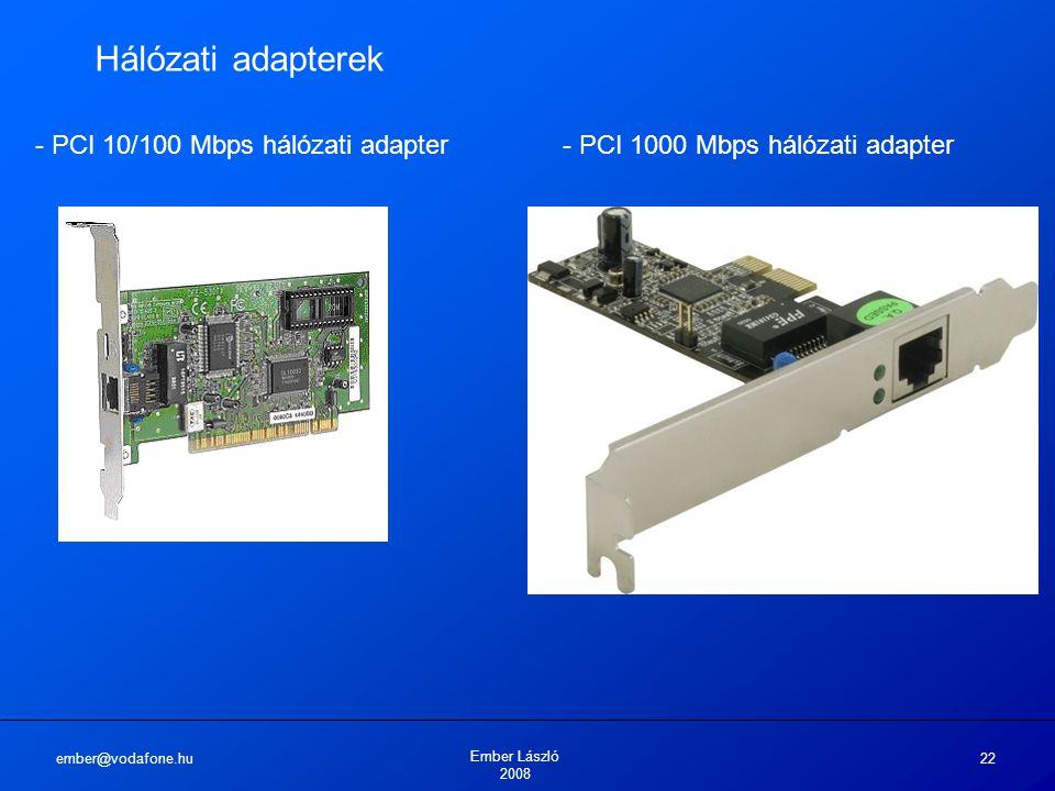ember@vodafone.hu Ember László 2008 22 Hálózati adapterek - PCI 10/100 Mbps hálózati adapter- PCI 1000 Mbps hálózati adapter