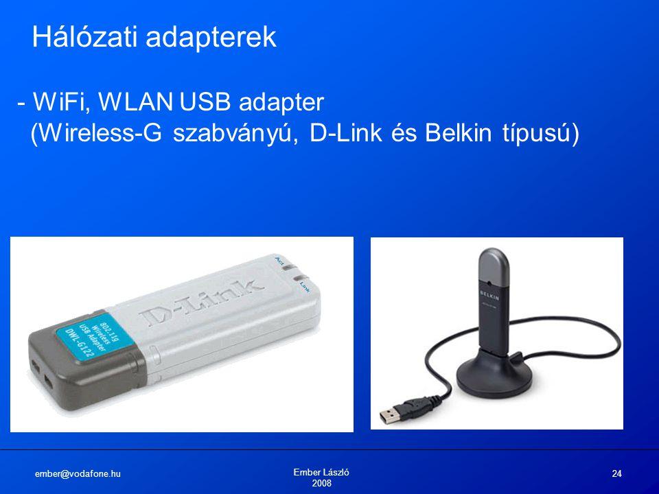 ember@vodafone.hu Ember László 2008 24 Hálózati adapterek - WiFi, WLAN USB adapter (Wireless-G szabványú, D-Link és Belkin típusú)