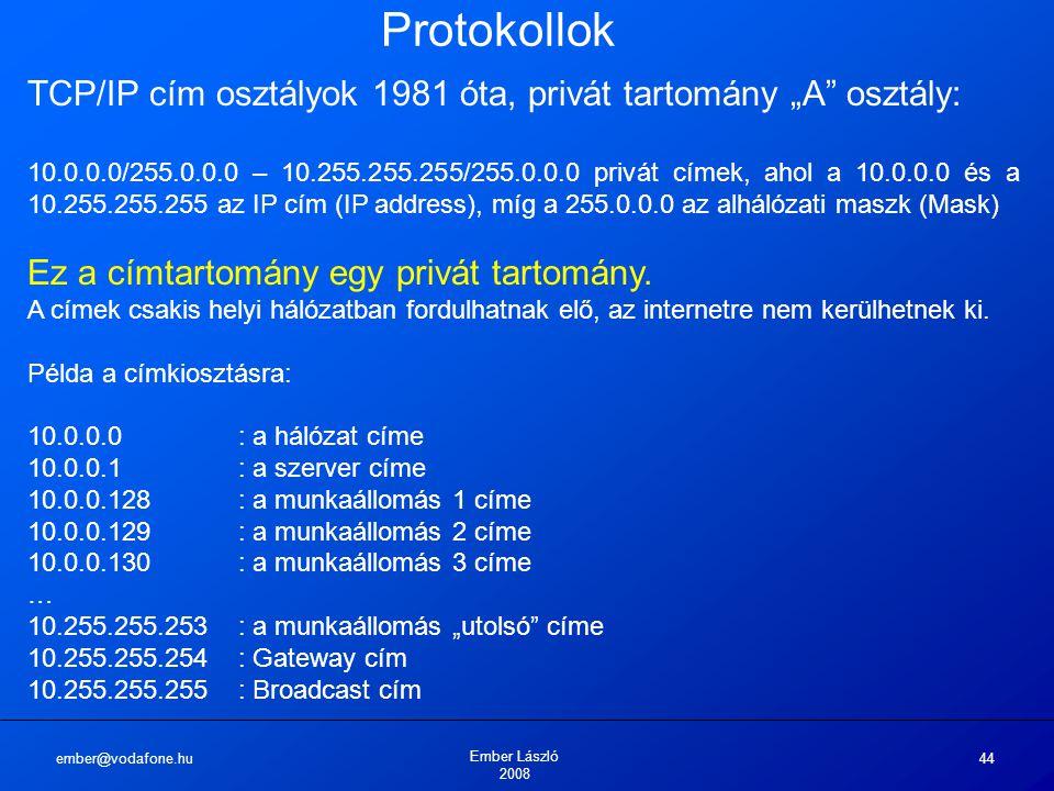 """ember@vodafone.hu Ember László 2008 44 Protokollok TCP/IP cím osztályok 1981 óta, privát tartomány """"A"""" osztály: 10.0.0.0/255.0.0.0 – 10.255.255.255/25"""
