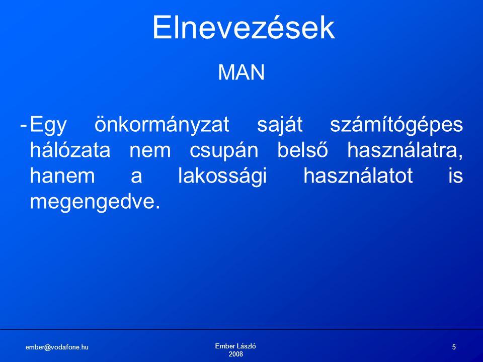 ember@vodafone.hu Ember László 2008 5 Elnevezések MAN -Egy önkormányzat saját számítógépes hálózata nem csupán belső használatra, hanem a lakossági használatot is megengedve.