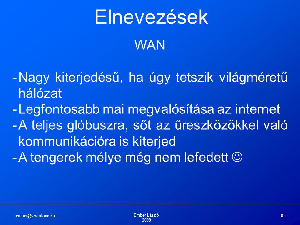 ember@vodafone.hu Ember László 2008 6 Elnevezések WAN -Nagy kiterjedésű, ha úgy tetszik világméretű hálózat -Legfontosabb mai megvalósítása az interne