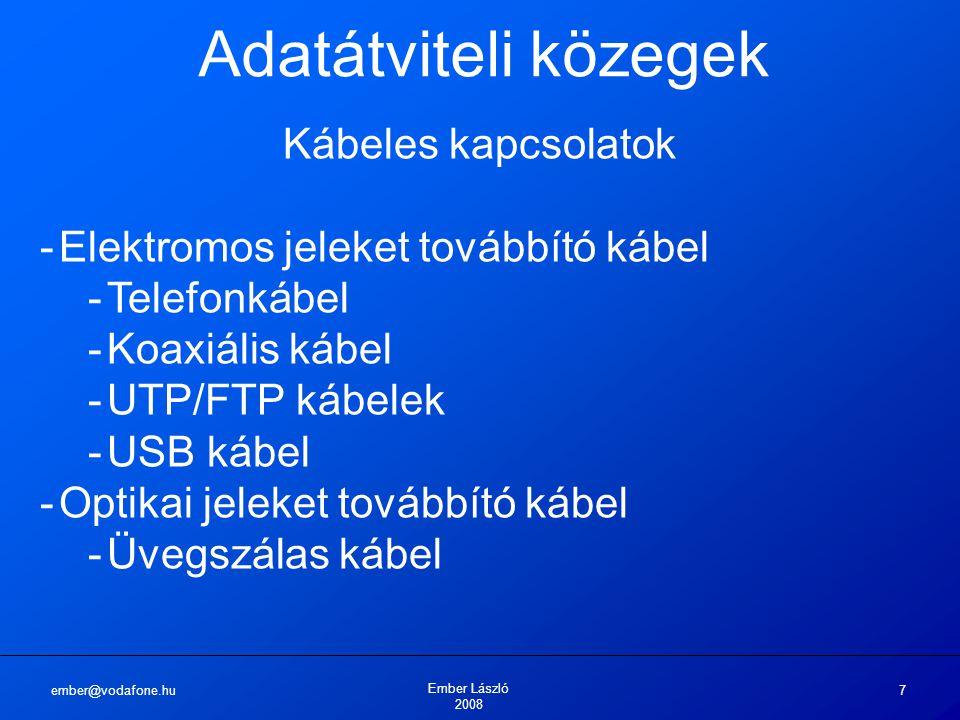ember@vodafone.hu Ember László 2008 7 Adatátviteli közegek Kábeles kapcsolatok -Elektromos jeleket továbbító kábel -Telefonkábel -Koaxiális kábel -UTP