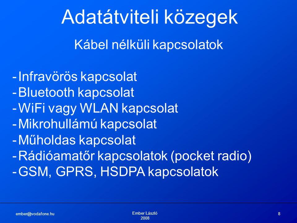 ember@vodafone.hu Ember László 2008 8 Adatátviteli közegek Kábel nélküli kapcsolatok -Infravörös kapcsolat -Bluetooth kapcsolat -WiFi vagy WLAN kapcsolat -Mikrohullámú kapcsolat -Műholdas kapcsolat -Rádióamatőr kapcsolatok (pocket radio) -GSM, GPRS, HSDPA kapcsolatok