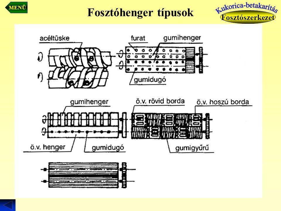 Fosztóhenger típusok Fosztószerkezet MENÜ