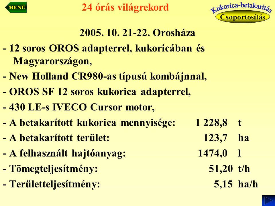 2005. 10. 21-22. Orosháza - 12 soros OROS adapterrel, kukoricában és Magyarországon, - New Holland CR980-as típusú kombájnnal, - OROS SF 12 soros kuko
