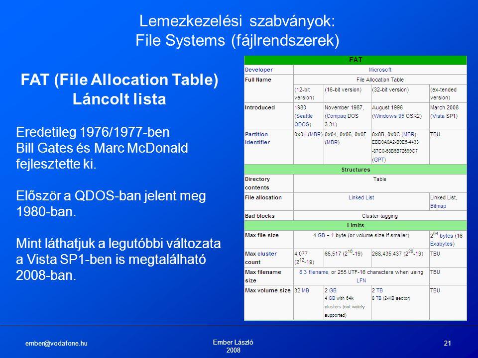 ember@vodafone.hu Ember László 2008 21 Lemezkezelési szabványok: File Systems (fájlrendszerek) FAT (File Allocation Table) Láncolt lista Eredetileg 19