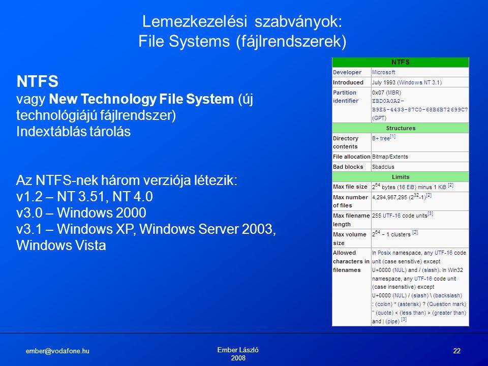 ember@vodafone.hu Ember László 2008 22 Lemezkezelési szabványok: File Systems (fájlrendszerek) NTFS vagy New Technology File System (új technológiájú