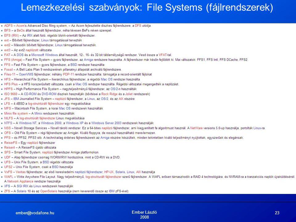 ember@vodafone.hu Ember László 2008 23 Lemezkezelési szabványok: File Systems (fájlrendszerek)