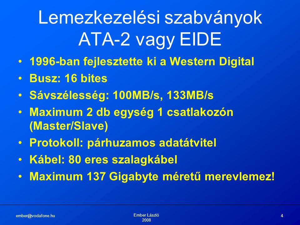 ember@vodafone.hu Ember László 2008 4 Lemezkezelési szabványok ATA-2 vagy EIDE 1996-ban fejlesztette ki a Western Digital Busz: 16 bites Sávszélesség: